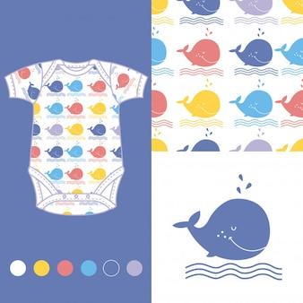 Modedesign-set für babykleidung mit walen
