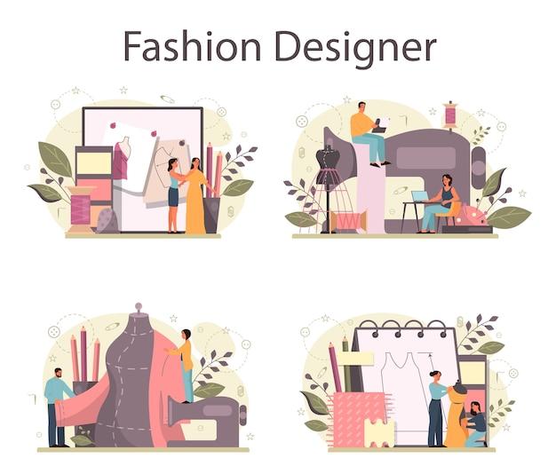 Modedesigner oder schneider-konzeptset. professioneller meister beim nähen von kleidung.