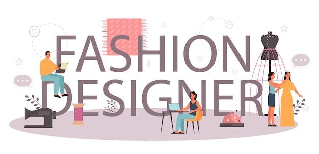 Modedesigner oder schneider typografisches header-konzept. professioneller meister beim nähen von kleidung. schneiderin arbeitet an kraftnähmaschine und nimmt messungen vor. vektorillustration