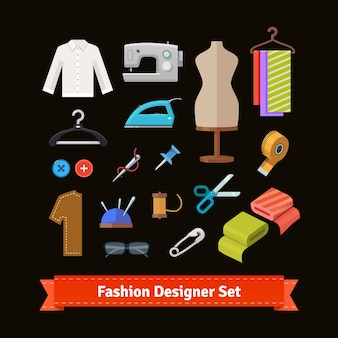 Modedesigner werkzeuge und materialien