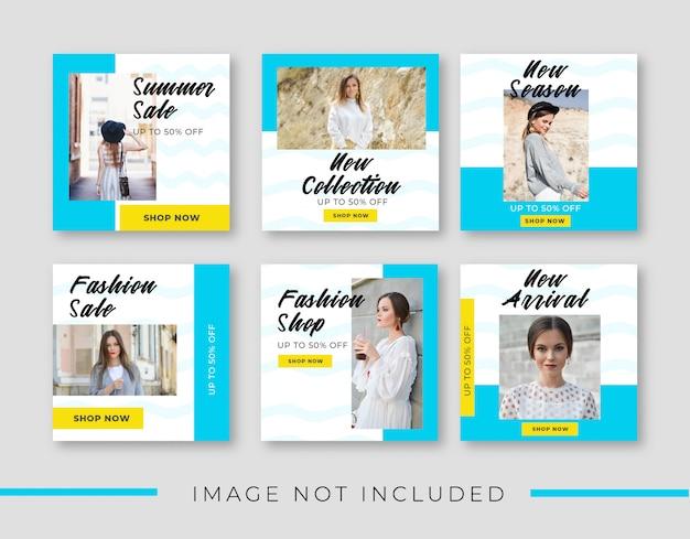 Modefahnenschablone für social media-beitragssammlung