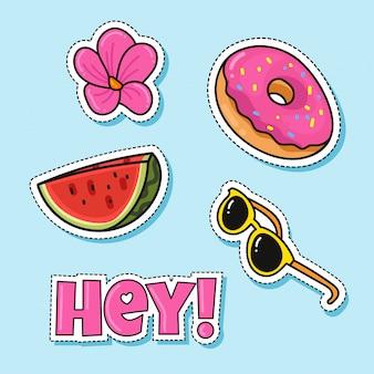 Modefleckenabzeichen mit wassermelonendonutblume und -gläsern