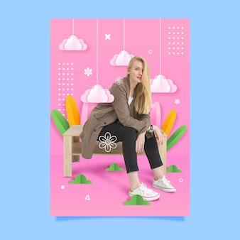 Modefrau, die auf einer bankplakatschablone sitzt