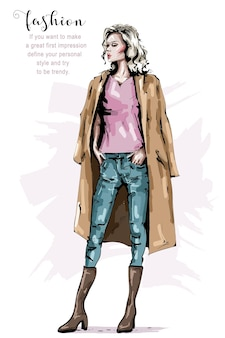 Modefrau im mantel