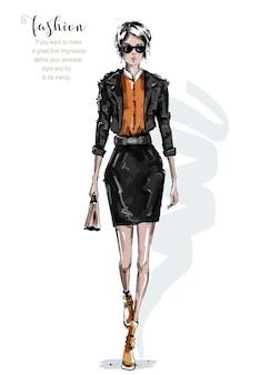 Modefrau im rock