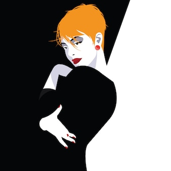 Modefrau im stil pop art. modeillustration
