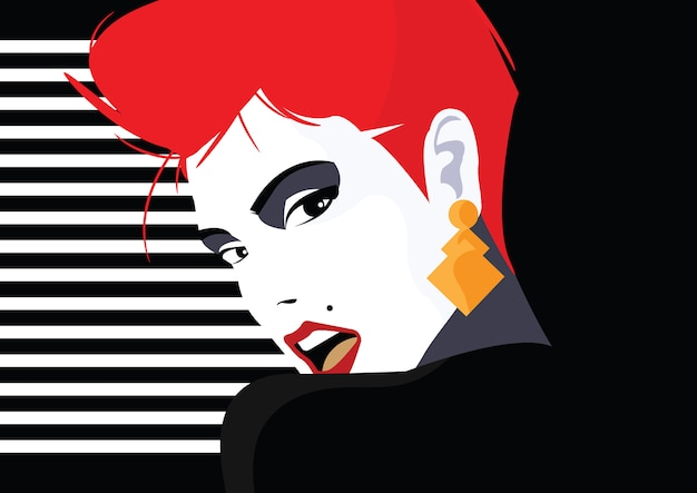 Modefrau im stil pop art. vektorillustration