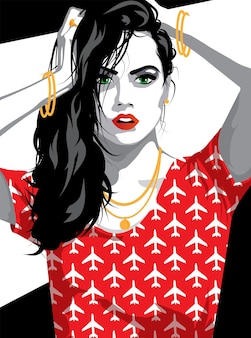 Modefrau in der art-pop-art. illustration