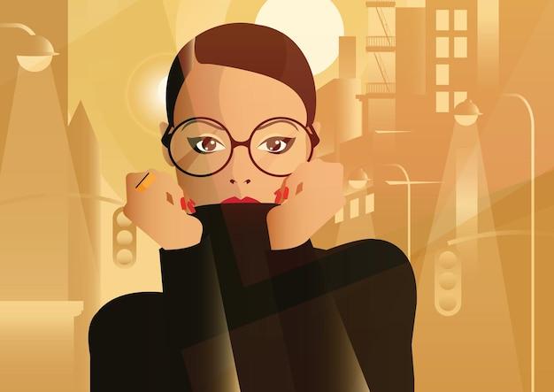 Modefrau in der art pop-art in der großstadt.