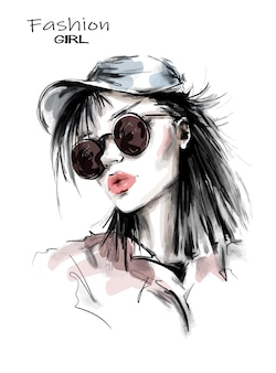 Modefrau in der mütze.
