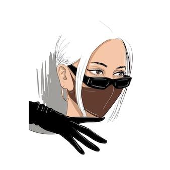 Modefrau in der schutzmasken- und brillenillustration