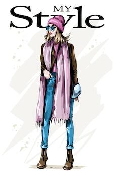 Modefrau in stilvoller kleidung