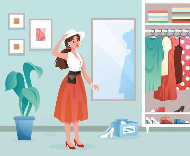 Modefrau. karikatur junge weibliche figur, die durch spiegel steht, dame, die sich anzieht