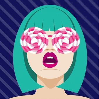 Modefrau mit lutscher-sonnenbrille