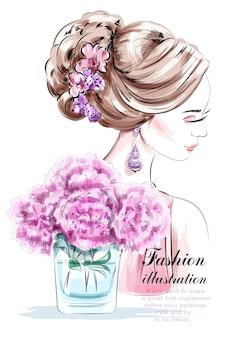 Modefrau mit schöner frisur