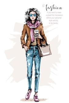 Modefrau mit tasche