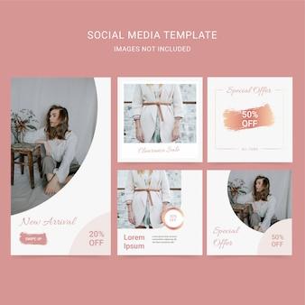 Modefrauen mit weicher farbe social media vorlage. sonderangebot rabatt.