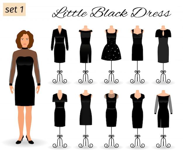 Modefrauencharakter in wenigem schwarzem kleid. satz cocktailkleider auf mannequins.
