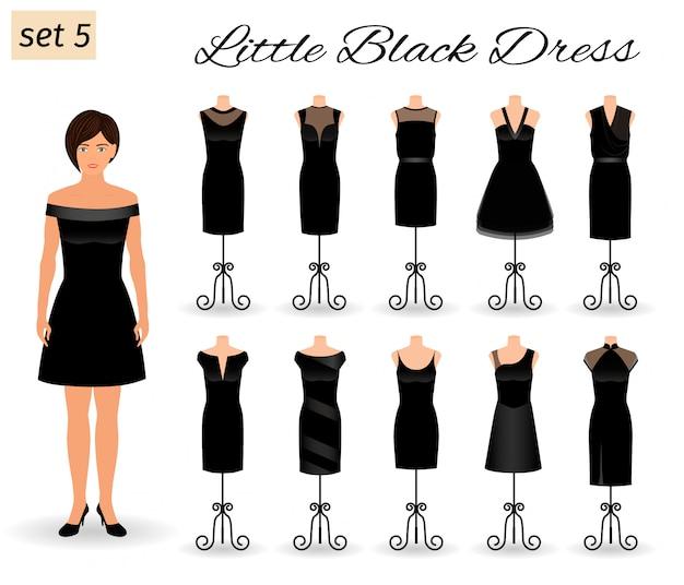 Modefrauenmodellcharakter in wenigem schwarzem kleid. satz cocktailkleider auf mannequins.