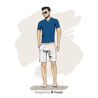 Modeillustration mit männlichem modell