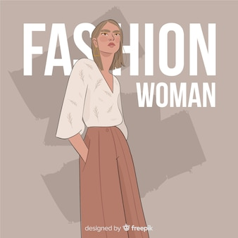 Modeillustration mit weiblichem modell