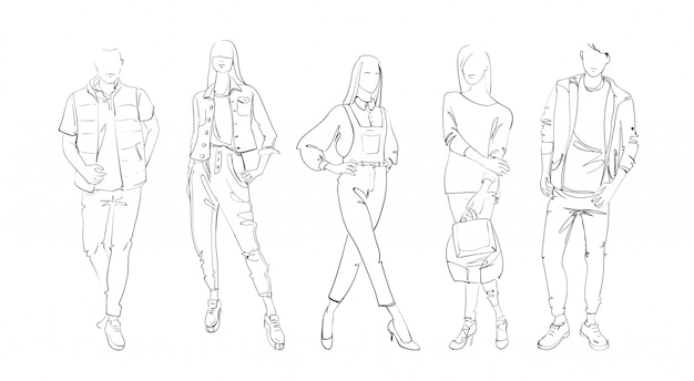 Modekollektion kleidungssatz modelle, die modische kleidungs-skizze tragen