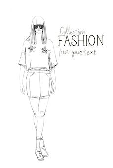 Modekollektion von kleidung weibliches modell mit modischer kleidungsskizze