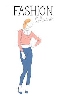 Modekollektion von kleidung weibliches modell wearing trendy clothing sketch