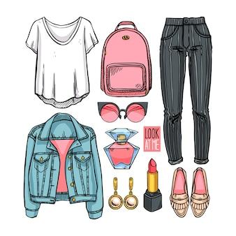 Modekollektion von mädchenbekleidung und accessoires. lässiger frauenstil. handgezeichnete illustration