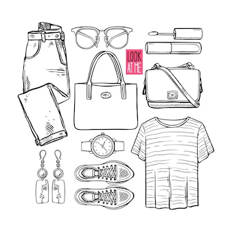 Modekollektion von sketch girl kleidung und accessoires. lässiger frauenstil. handgezeichnete illustration