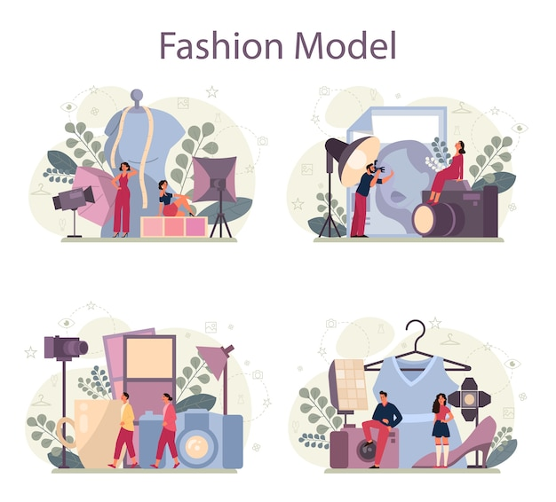Model-konzept-set. mann und frau repräsentieren neue kleider