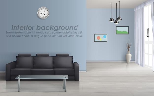 Modell 3d des leeren wohnzimmers mit schwarzem sofa, glastisch, fenster mit vorhängen
