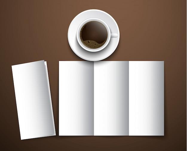 Modell der kaffeekarte mit einer tasse kaffee