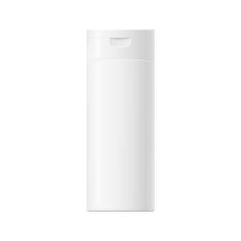 Modell der weißen glänzenden plastikflasche mit verschluss