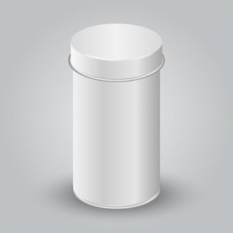 Modell der weißen leeren tincan-verpackung. tee, kaffee, trockenprodukte, geschenkbox.