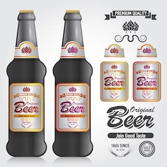 Modell des flaschen-vektors und des design-erstklassigen aufklebers des bieres