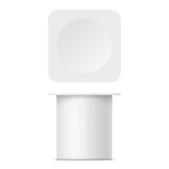 Modell des joghurtbehälters aus kunststoff mit deckel