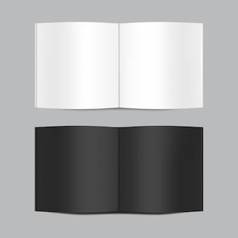 Modell des offenen weißen und schwarzen leeren buches lokalisiert auf grauem hintergrund. horizontale realistische magazin-, broschüren-, broschüren- oder notizbuchvorlage für ihr design.