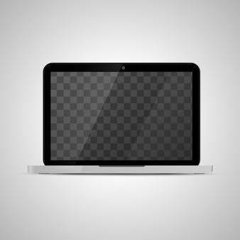 Modell des realistischen glänzenden laptops mit transparentem platz für schirm