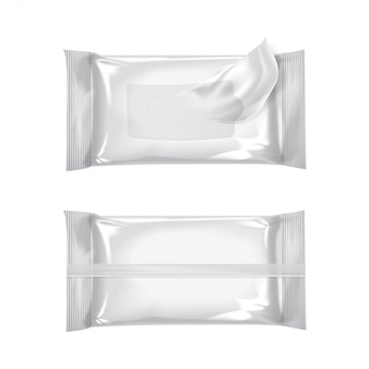 Modell des wet wipe flow packs.