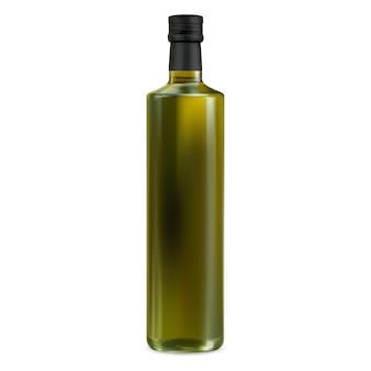Modell einer olivenölflasche. glas extra natives grünes öl. lebensmittelkochprodukt, organische vegetarische ernährung. pflanzenölmarkenglas mit schwarzem kork. sonnenblumenöl glasflasche