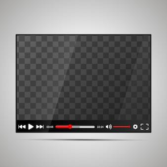 Modell eines glänzenden videoplayers mit transparentem platz für den bildschirm