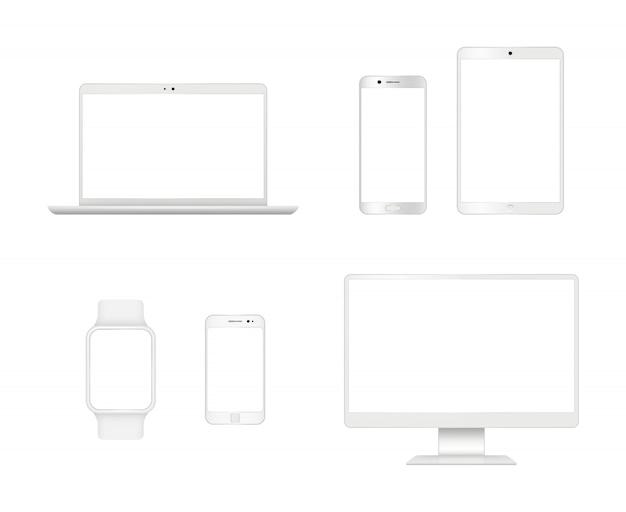 Modell für computergeräte. smartphone laptop tablet monitor anzeige moderne realistische geräte