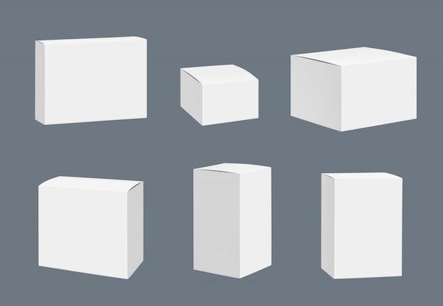 Modell für leere pakete. realistische schablone der quadratischen weißen geschlossenen kastenbehälter lokalisiert