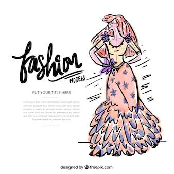 Modell illustration mädchen mit einem langen kleid
