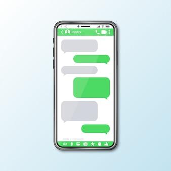 Modell mit smartphone mit messenger-fenster für social media
