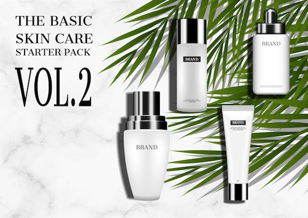 Modell mit vier kosmetikprodukten