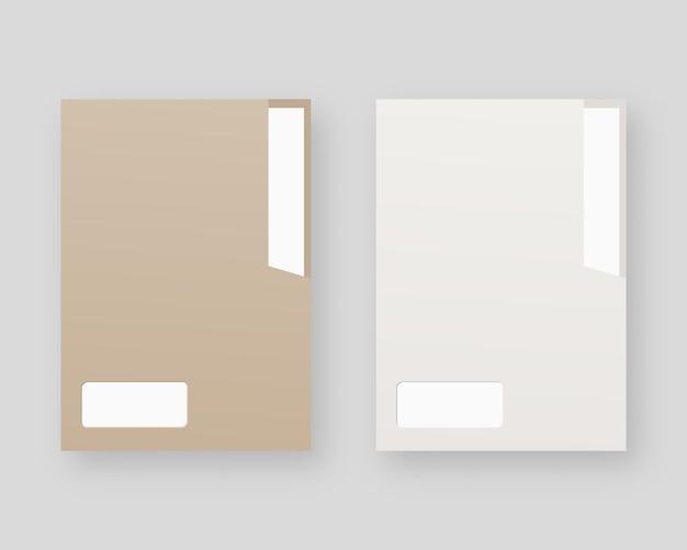 Modell-set für leere papierordner. papierordner mit weißem papier.