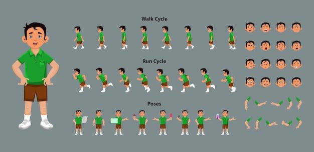 Modellblatt für jungencharaktere mit schlüsselbildern für die animation des laufzyklus und des laufzyklus. jungenfigur mit verschiedenen posen