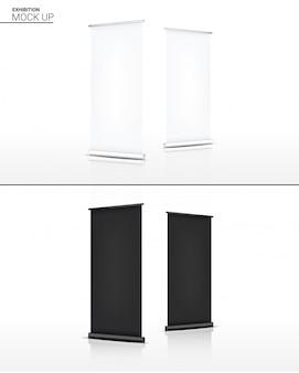 Modellieren sie realistische roll-up banner kiosk display 3d pop stand für verkauf marketing